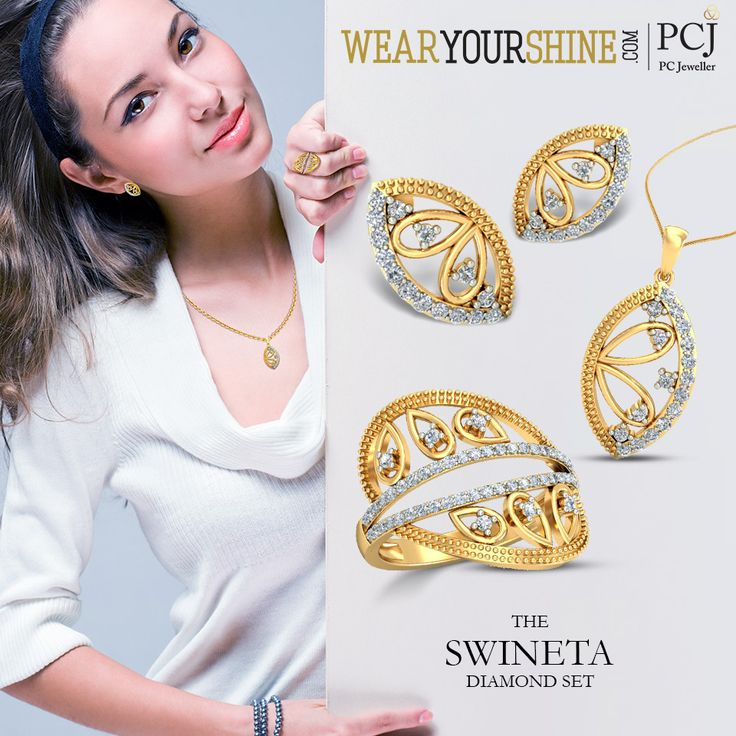 "Marvel over the priceless beauties at WearYourShine.com ""The Swineta Diamond Set"" is your perfect jewel chase  #SoRoposo #Roposo #Fashion #Trends #Diamonds #Pendant #Earrings #Rings #Jewellery #WearYourShine #PCJeweller #Love #Like #Instajewellery #IndianJewellery #Jewels #Online"