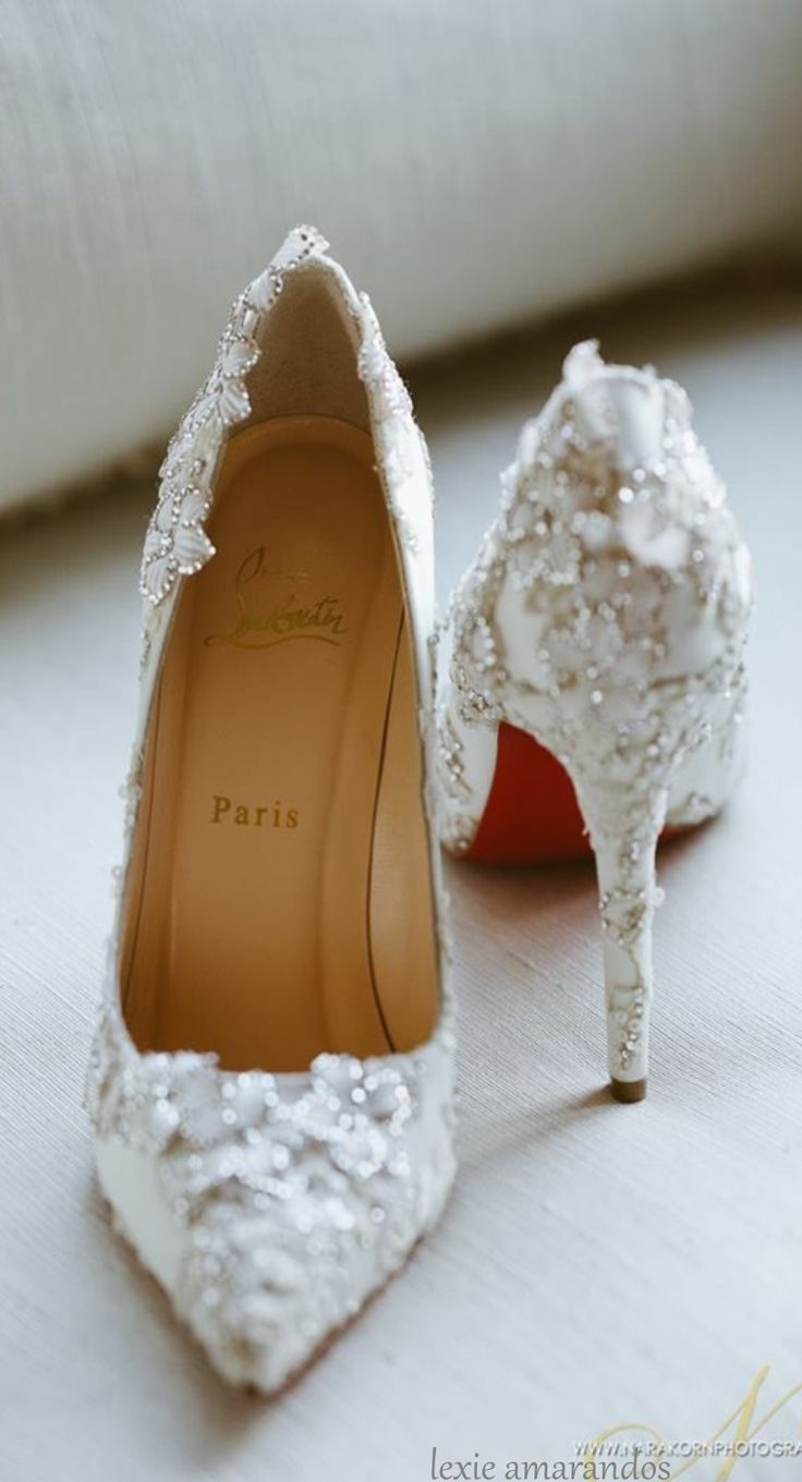 christian louboutin transparent jeweled rose gold pointed toe wedding shoes