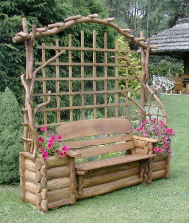 Log bench with flower arbor