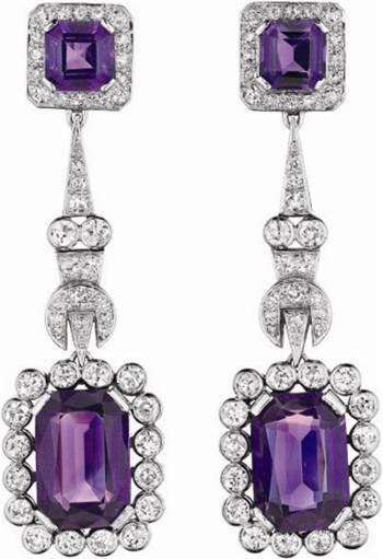 Diamond and Amethyst Ear Pendants