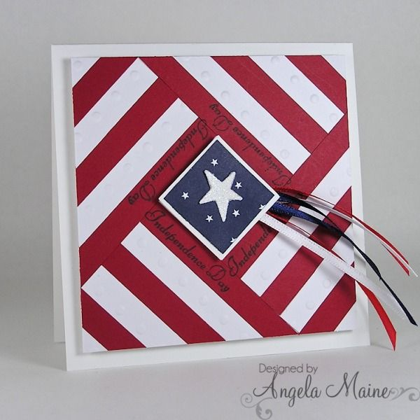 handmade patriotic card ... Independence Day Quilt ... luv the bold graphic quality of this square card ...