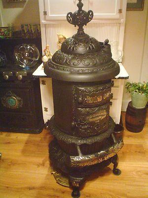 Antique Wood Burning Parlor Stove Quot Round Oak Quot D 18 Estate