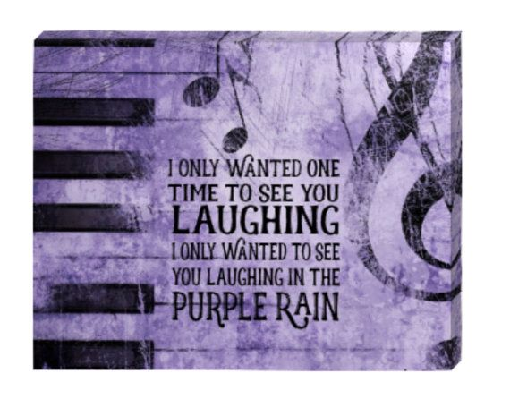 PRINCE Purple RAIN lyrics print canvas art, I only wanted to see you laughing in the purple rain. Other lyrics available