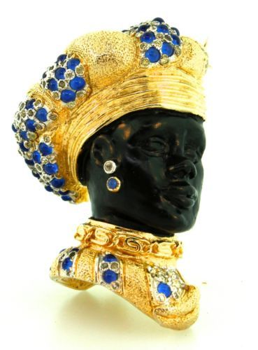 Vtg Nettie Rosenstein Blackamoor Prince Cabochon Figural Rhinestone Brooch Pin | eBay
