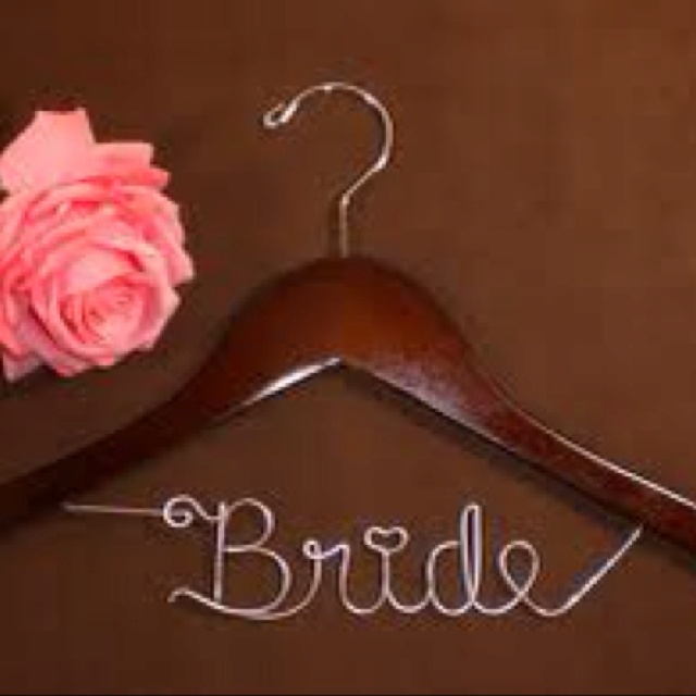 Personalized hanger for pre wedding photos of the dress!!