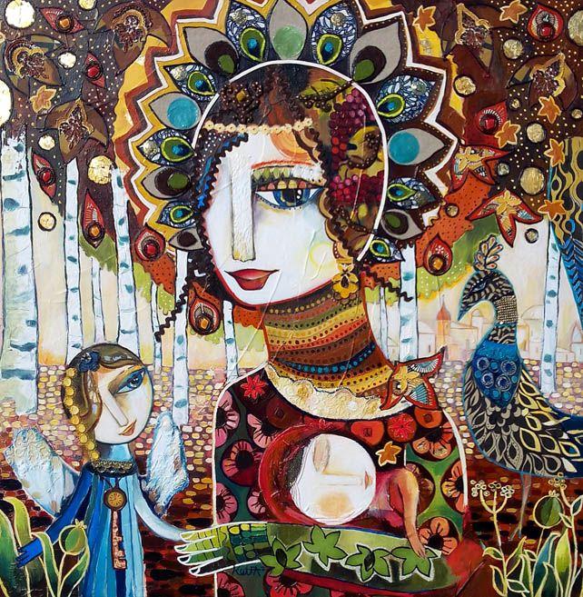 """Galerie L'âme des saisons """"De l'automne au renouveau"""" 80 x 80 cm - Technique mixte Laure Ketfa"""