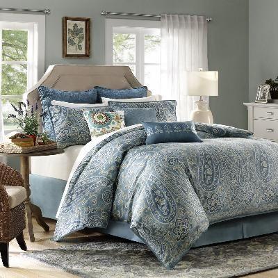 Belcourt Comforter Set Blue Paisley Bed Set