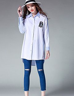Women's+Plus+Size+Going+out+Holiday+Vintage+Simple+Cute+Spring+Shirt,Striped+Shirt+Collar+Long+Sleeve+Blue+Gray+Cotton+Polyester+Medium+–+USD+$+23.99