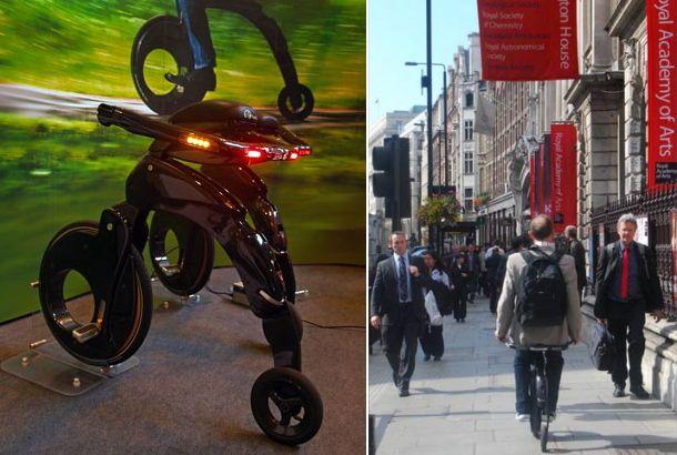 軽いって、いいことです。便利なことです。素敵なことです。  このクールなデザインの「YikeBike」は、世界で一番軽い折り畳み式電気自転車なのです! 乗り方は普通のバイクと違って、垂直腰掛け型。一輪車に乗るような姿勢ですね。後ろ側にハンドルがあって、腰の脇で握ります。  フレーム素材は軽くて丈夫なカーボンファイバー。チェーンレス仕様でメカニックもシンプル。満充電まで40分、時速25キロメートルで約10キロメートル走れます。注目の重量はたったの11.5キログラム!  後ろ姿は、どことなく自転車。LEDのテールランプがなかなかイカしてますね。  こんなのに乗って颯爽と街中を走ってみたい。  日本では株式会社LIRICAが研究販売を実施中で、問い合わせを受け付けているそうです。日本でも早く公道を自由に走れるようになってほしいですね。  一般的な「ママチャリ」でも17キログラム前後ですからね、自転車よりも手軽。  折り畳まれる様子がまたカッコイイ。 徒歩だとちょっと遠いんだけど、という距離にはこういう「足」がちょうどいいですよね。未来の乗り物だなぁ。