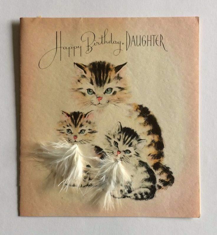 Kitty Cats Feather Fur Birthday Greeting Card