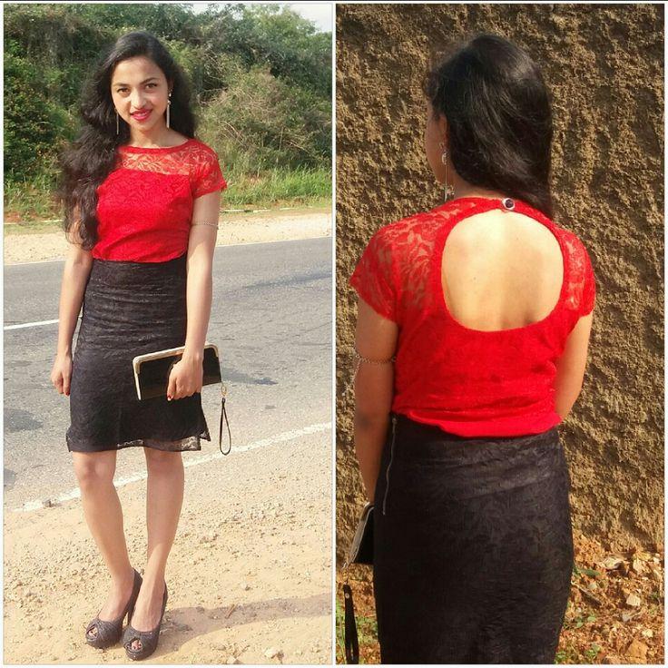 Black n red lace skirt n top
