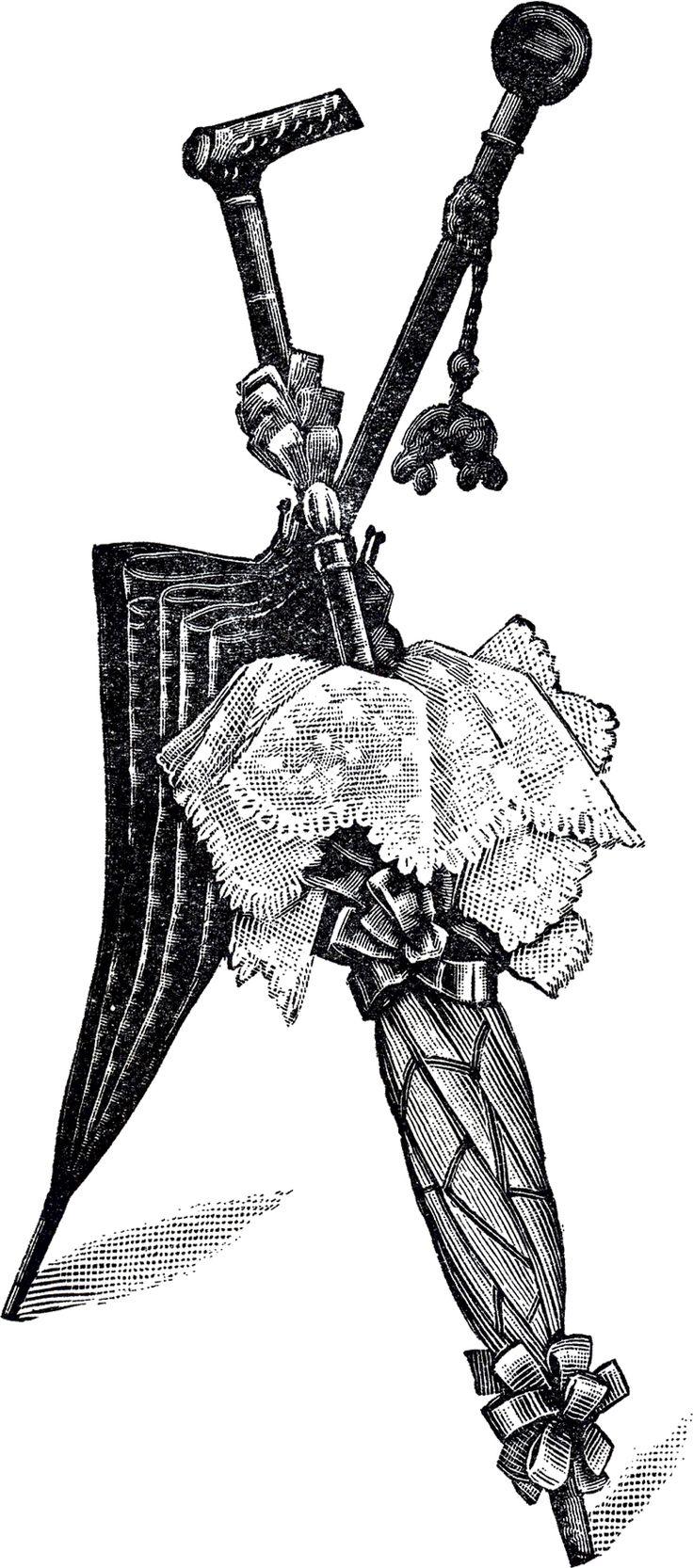 Free Vintage Umbrellas Clip Art, vintage printable