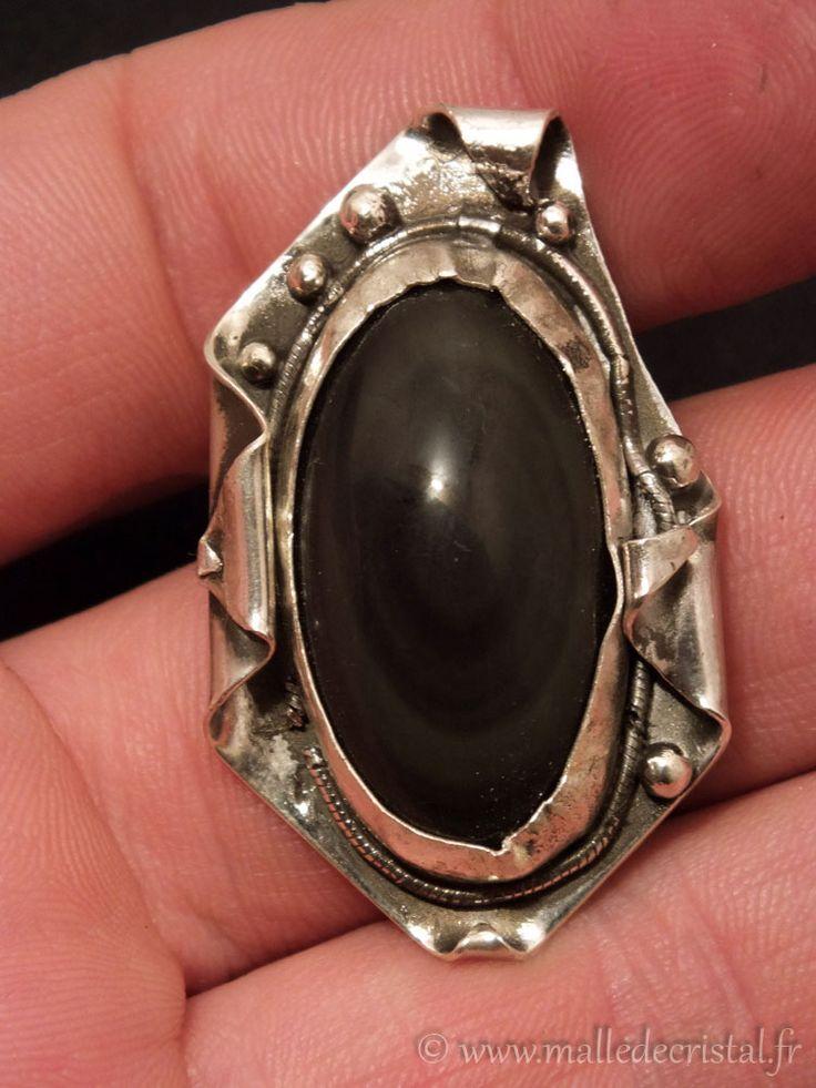 oeil celeste obsidienne / celestian obsidian  silver sterling 925 / argent massif  fait main / handmade