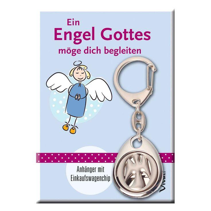 Schlüsselanhänger mit #Engel-Motiv und #Einkaufswagenchip