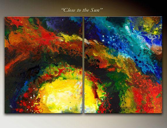 Giclee prints op gespannen doek van mijn oorspronkelijke abstracte tweeluik vloeistof schilderij close to the Sun  Twee 16 x 20 doeken = 20 x 32 inch.  Bedrukt met rijke, levendige Epson pigment inkten op een dikke poly-archiveringsdoeleinden kwaliteit glanzend katoen die PH neutraal en zuurvrij. Het beeld is spiegel gewikkeld rond 1.5 diep oven gedroogd houten brancard bars. Professioneel verpakt, verzonden en klaar om op te hangen met vooraf gekoppelde opknoping draad.  Elke giclee is ...