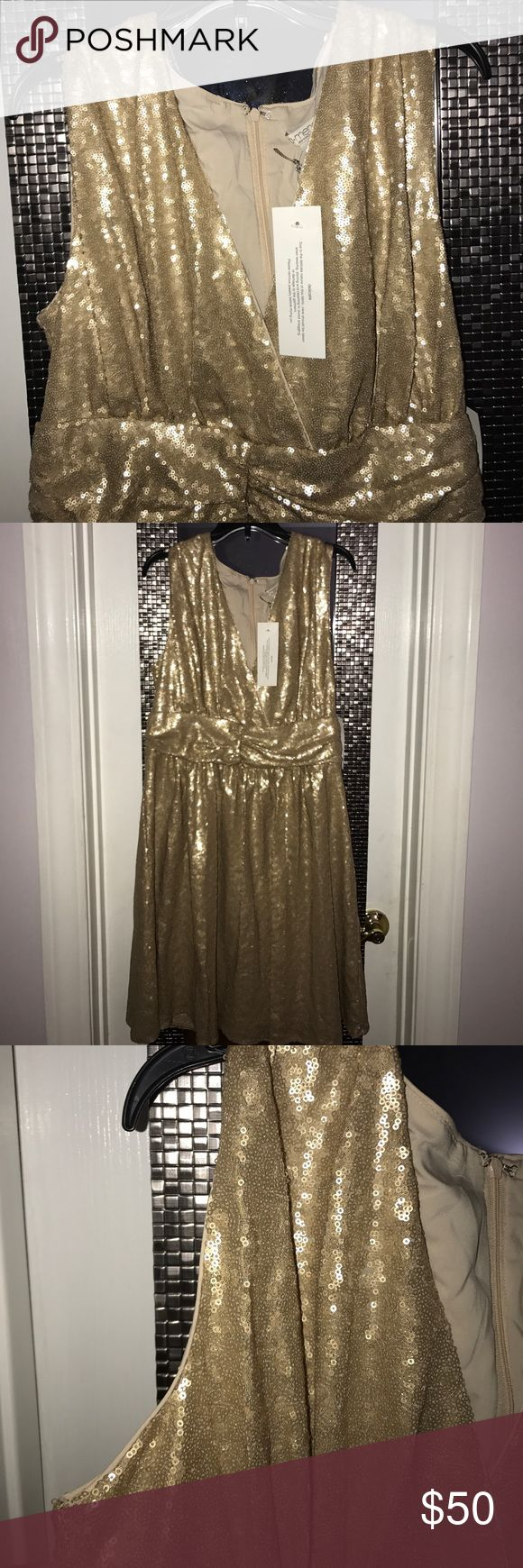 Eva Mendes Sequin Dress (Gold) Beautiful cocktail or dress to wear out to a part that stops above the knee, brand new, never worn, zips up the back as pic shows and open in front as pic shows pleated around waist that drops beautifully when on! I have a navy blue one and just never got to wear this one it's a size large and I've lost over 70 lbs so I can no longer fit! Eva Mendes Dresses Midi