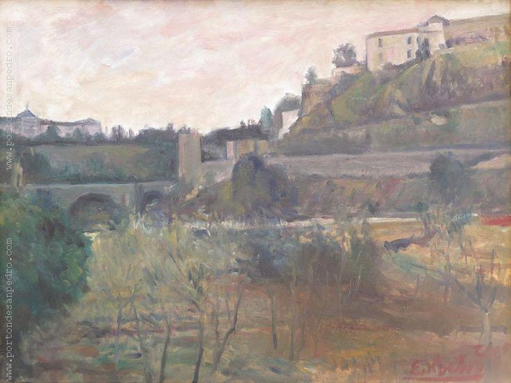 """Edgardo Ribeiro  """"Paisaje con puente"""" Óleo sobre tela  46 x 61 cm. Año 2005  Firmado y fechado abajo a la derecha.  http://www.portondesanpedro.com/ver-producto.php?id=13086"""
