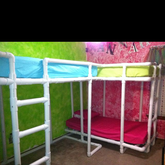 PVC bunk beds... Seriously cool idea especially for kids who refuse to sleep in their own rooms! ;)
