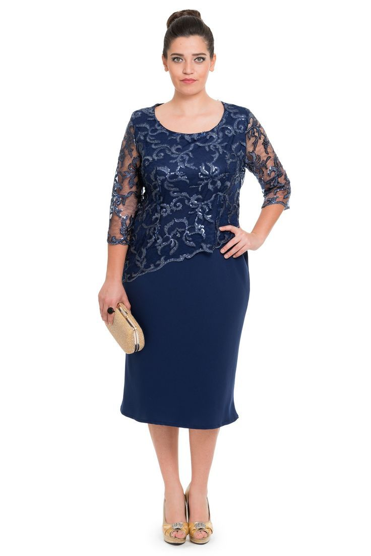 Dunkelblaue Bottoms Plus Size Abendkleid ABK15 - #Abendkleid