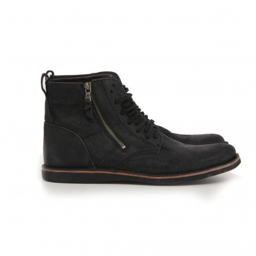 John Varvatos Barrett Side Zip. Crafted of fine antiqued calf skin leather, this boot is full of vintage character. It features an unique multi-eyelet lacing pattern, stitched down construction, antiqued side zip closure, tonal stitch, and rich burnishing