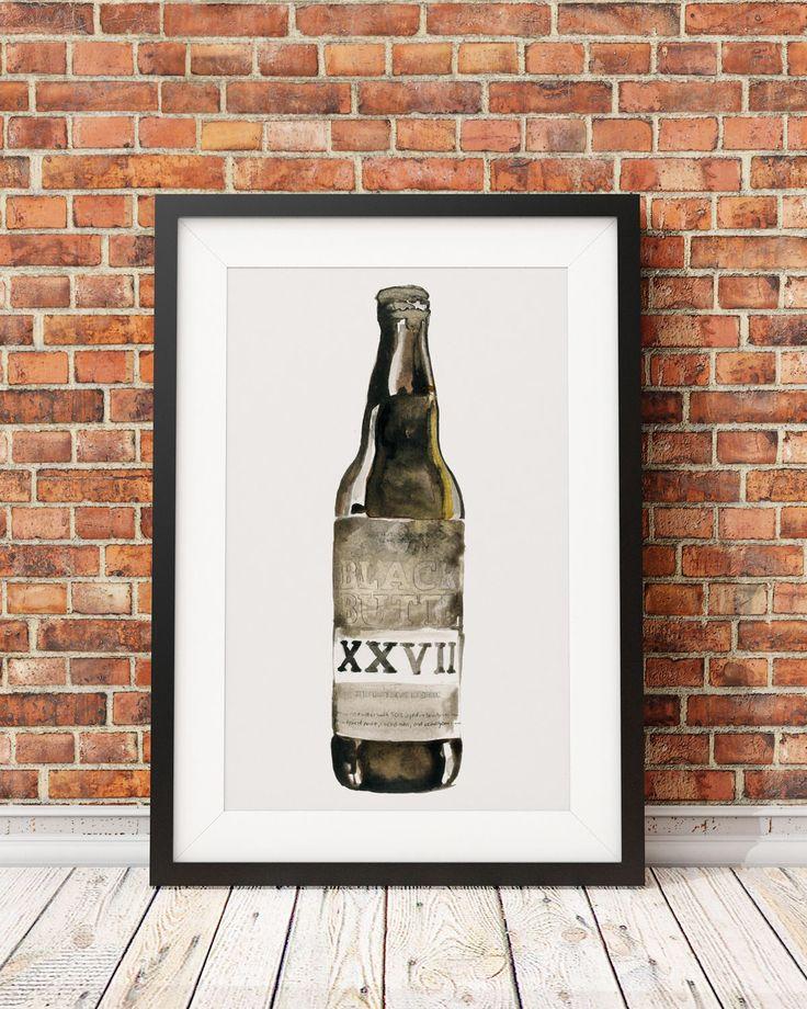 £7.80 Black Butte Craft Beer bottle watercolour painting illustration Home Bar pub retro nightclub drinks wall art poster Digital Download by LeonaBethillustrator on Etsy https://www.etsy.com/uk/listing/545787104/black-butte-craft-beer-bottle