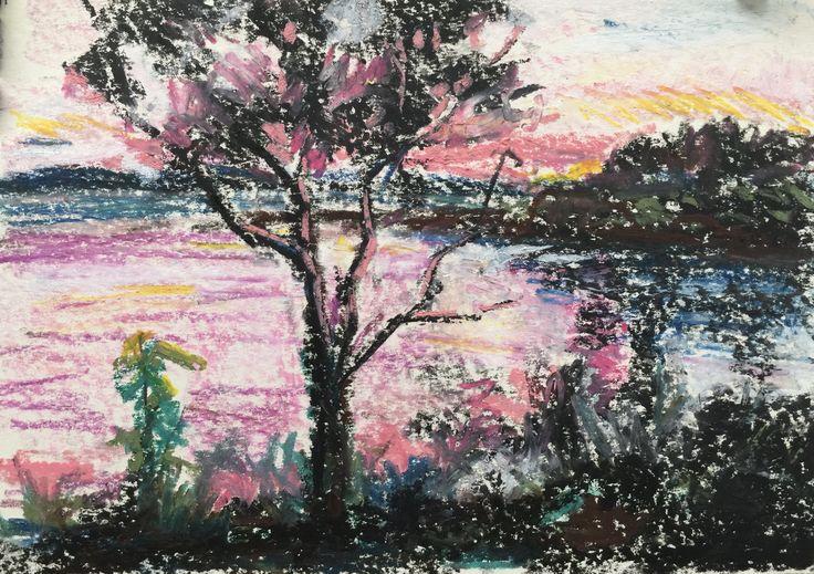Sketch for Blackmans Bay VI Oil pastel  on paper 210 x 297cm