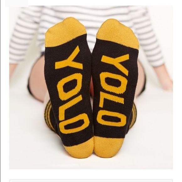 """Arthur George """"YOLO"""" Socks by Rob Kardashian NWT Arthur George by Rob Kardashian YOLO socks. Black with gold lettering. Unisex. Shoe size 7-12. You Only Live Once. Bundle with the Baby Daddy pair for bundle discount. Free gifts with purchase!  Steph Arthur George Accessories Hosiery & Socks"""