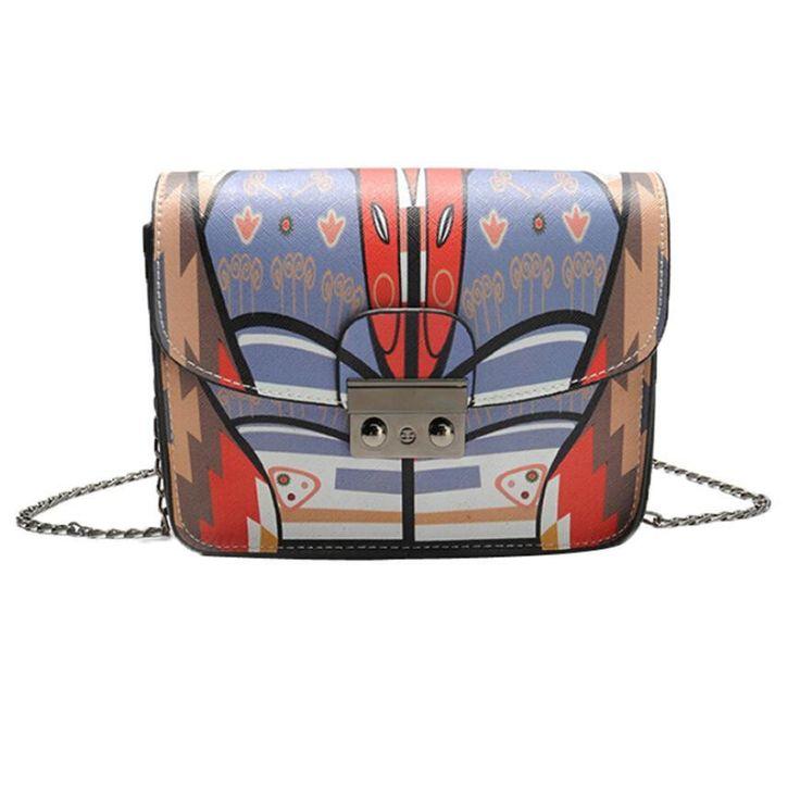 womens bag small cross body chains shoulder Bags Summer Graffiti Women Messenger Bags small high quality pu leather Handbag #5M