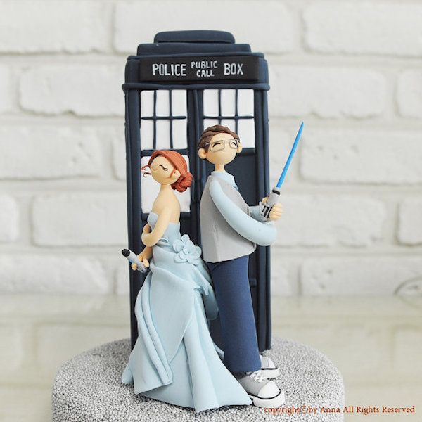 For the double-time nerd couples, here's a Dr. Who/Star Wars combo cake topper to add to your paraphernalia collection. #wedding #cake #toppers