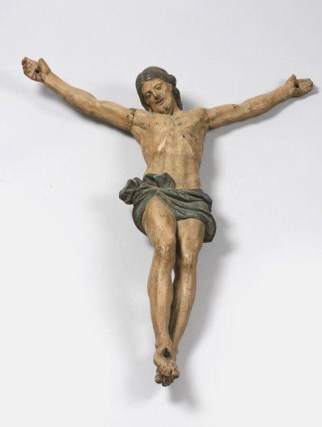 Christ en bois sculpté et polychromé, Italie, fin du XVIe siècle, H. env.82 cm  - Art Richelieu - 05/02/2016