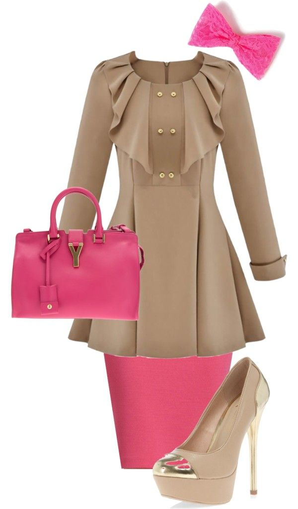 Pink and tan Apostolic church outfit!
