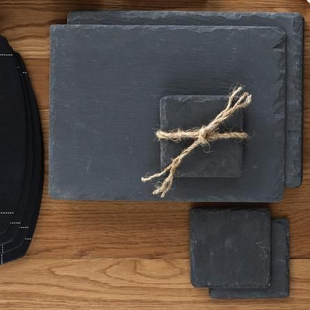 Astonishing value! Four slate coasters for 2.99 and matching placemats for 10.99. Dunelm Mill.