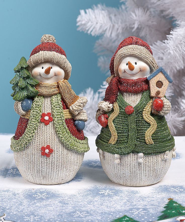Small Knit Snowman Figurine Set