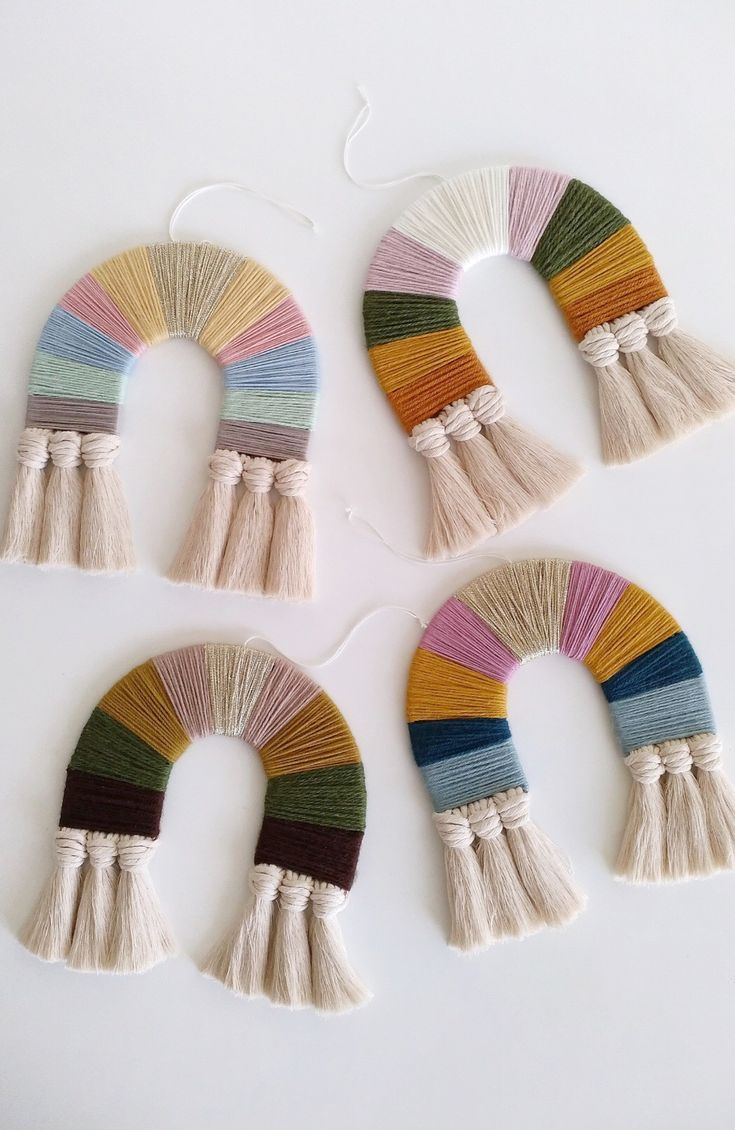 Handmade Rainbow Fibre Art Tassel Wall Hangings | …