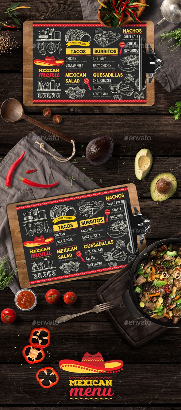 Mexican Food Menu — Photoshop PSD #latino #invitation • Download ➝ https://graphicriver.net/item/mexican-food-menu/19781428?ref=pxcr