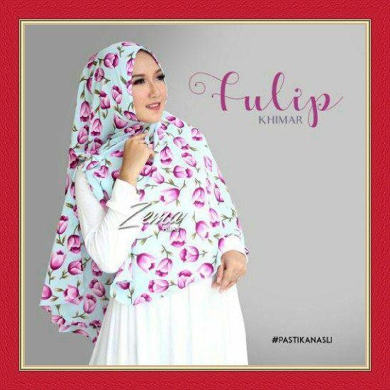 Jilbab Khimar Simple Motif Bunga Cantik Tulip by Zema