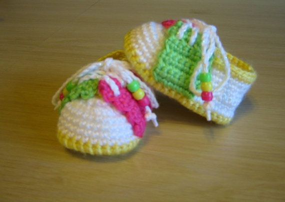 Crochet Multicolor Baby Saddle Shoes Booties by LizzyBethsSewBIt ♥♥