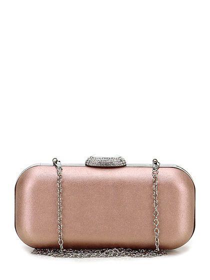 Drap Barcelona - Borse - Accessori - Pochette clutch in metallo foderata in eco pelle con chiusura a gancio con strass e pietre. Tracolla a catenella, misure 20 x 10 cm. - PINK - € 48.36