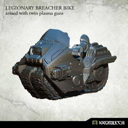 This set contains one high quality resin Legionary Breacher Bike armed with twin plasma gun. Designed to fit futuristic 28mm heroic scale heavy armoured troopers. As an additional parts you get biker legs and arms which you can combine with Legionaries torsos, heads, shoulder pads and backpacks sold separately.