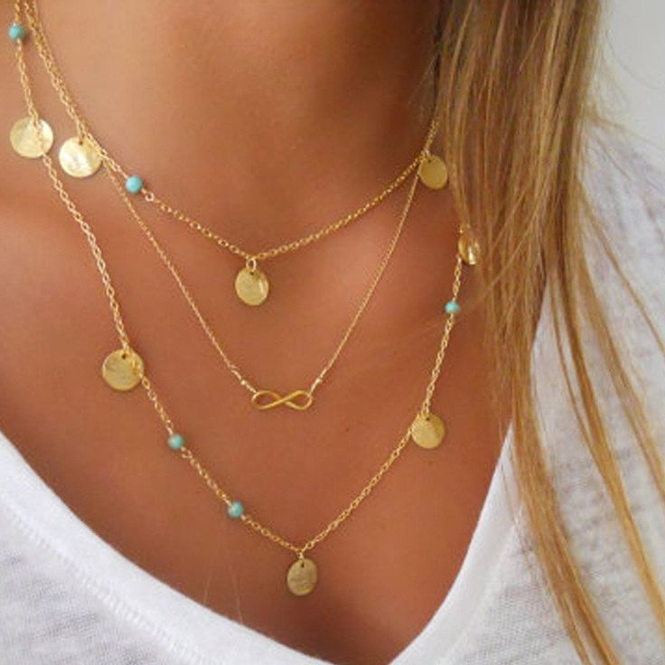 Multi Layer Gold Color Tassel Infinity Necklace