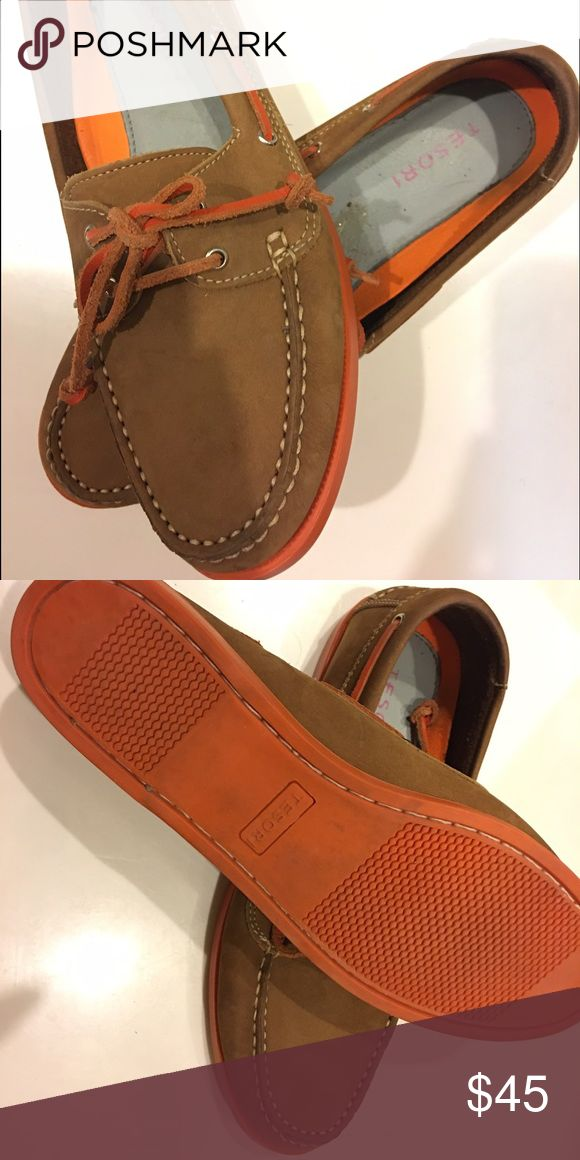 Tesori Leather Boat Shoes Size 8 Like new, gently worn! Brown leather boat shoes with dark orange soles and dark orange leather laces. Chic, classic and comfy! US size 8 ** tesori Shoes Flats & Loafers