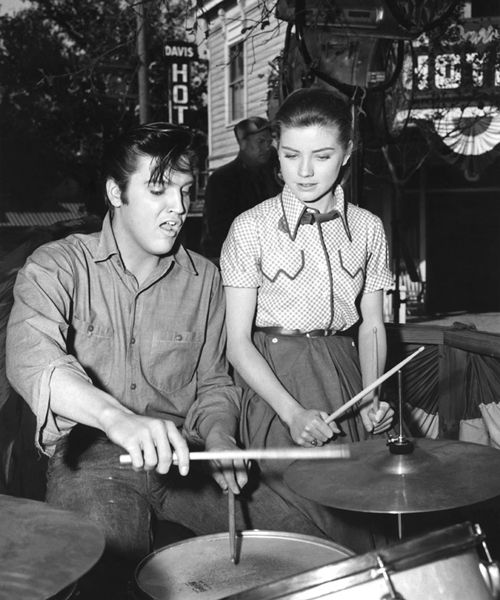 Elvis and Dolores Hart on the set of Loving You, 1957.