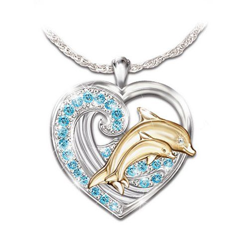 Jeweled Dancer Sterling Silver and Diamond Pendant Necklace: Unique Dolphin Art Jewelry by The Bradford Exchange $129.00