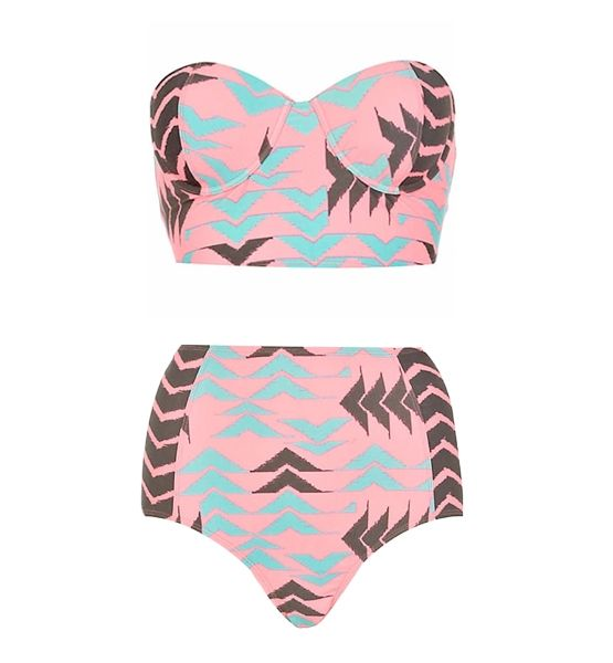 Retro fit high wait bottoms with sweetheart bustier top bikini. Like the pink blue and black tribal print. a bikini but still modest