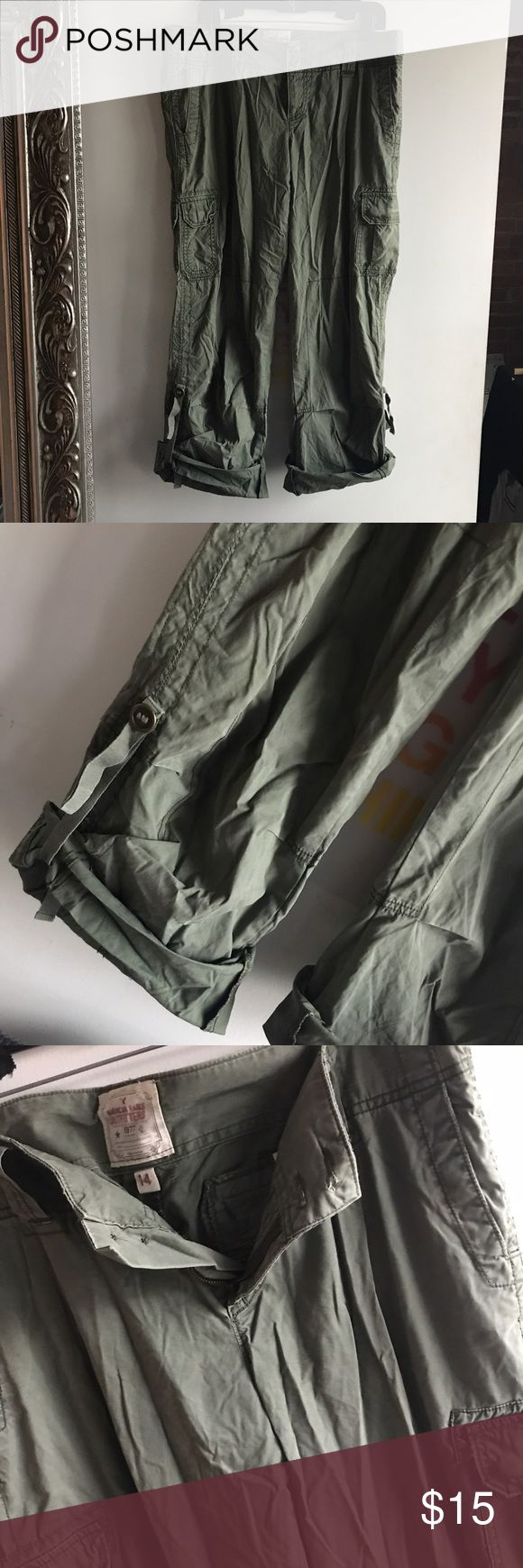american eagle cargo pants green army pockets 14 american eagle outfitters. cargo capri pants with lots of pockets. can be worn as pants or capris. straight leg wide leg trousers. color army green. size 14. American Eagle Outfitters Pants Capris