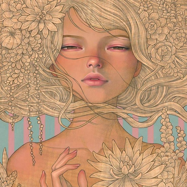 "Art I love... Audrey Kawasaki's Art's painting ""Enchantress""  #beautifulbizarre #art #culture #TheVintagePunk"