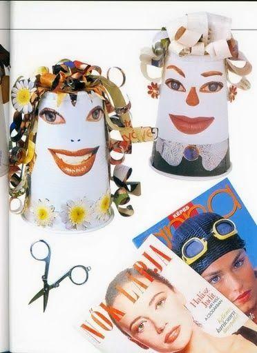 knutselen met plastic bekers en tijdschriften