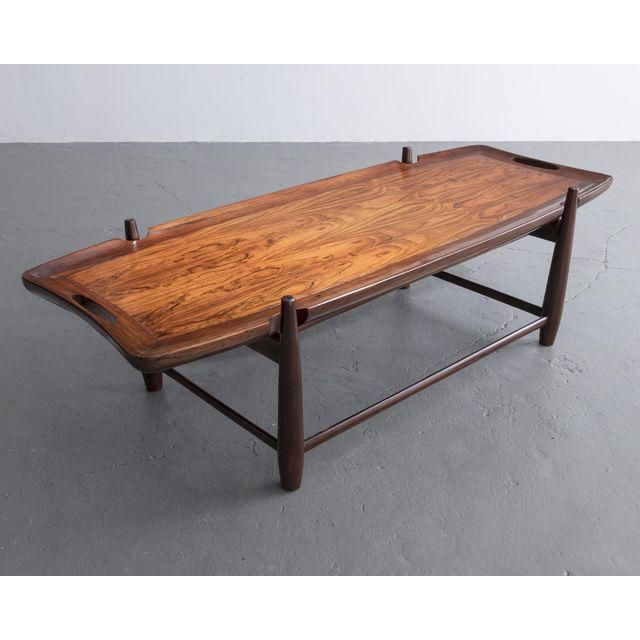 Cool Arimello coffee table with carved handles in imbuia and a solid imbuia frame Designed by Sergio Rodrigues Brazil 1958 Lovely - Modern rosewood coffee table Beautiful