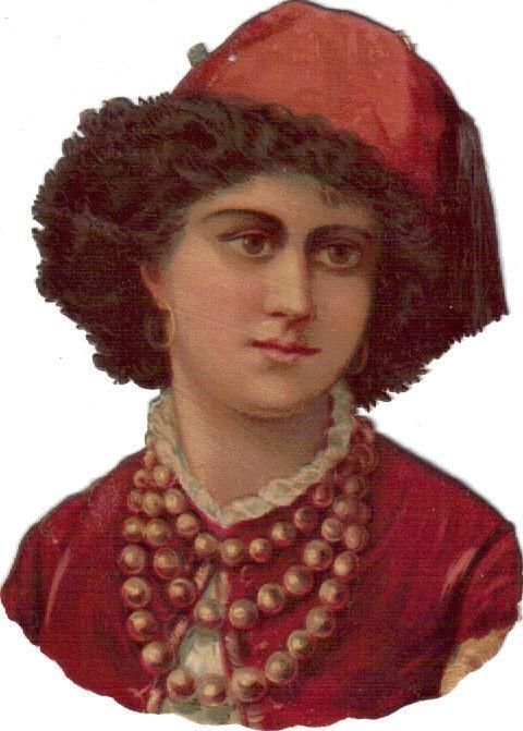 Victorian Die Cut Scrap Lovely Lady in Red w Pearl Necklace c1880