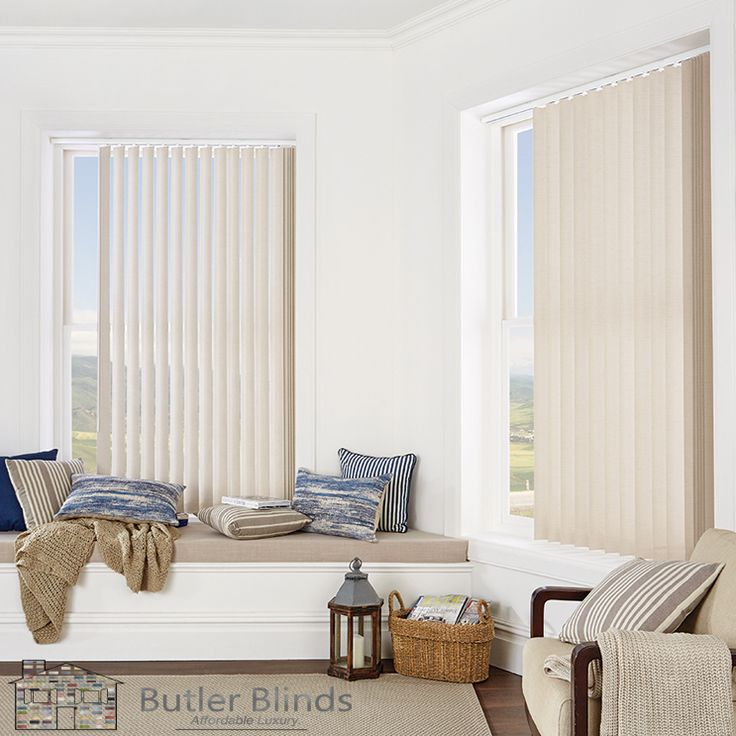 Keep it light and minimal with Butler Blinds Vertical Blind Collection.